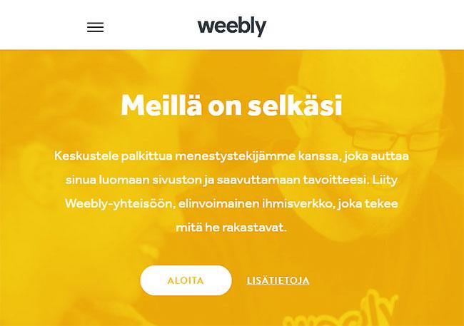 Weebly - meillä on selkäsi :-)